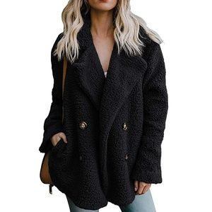 NWT Shearling Style Fleece Double Breasted Peacoat
